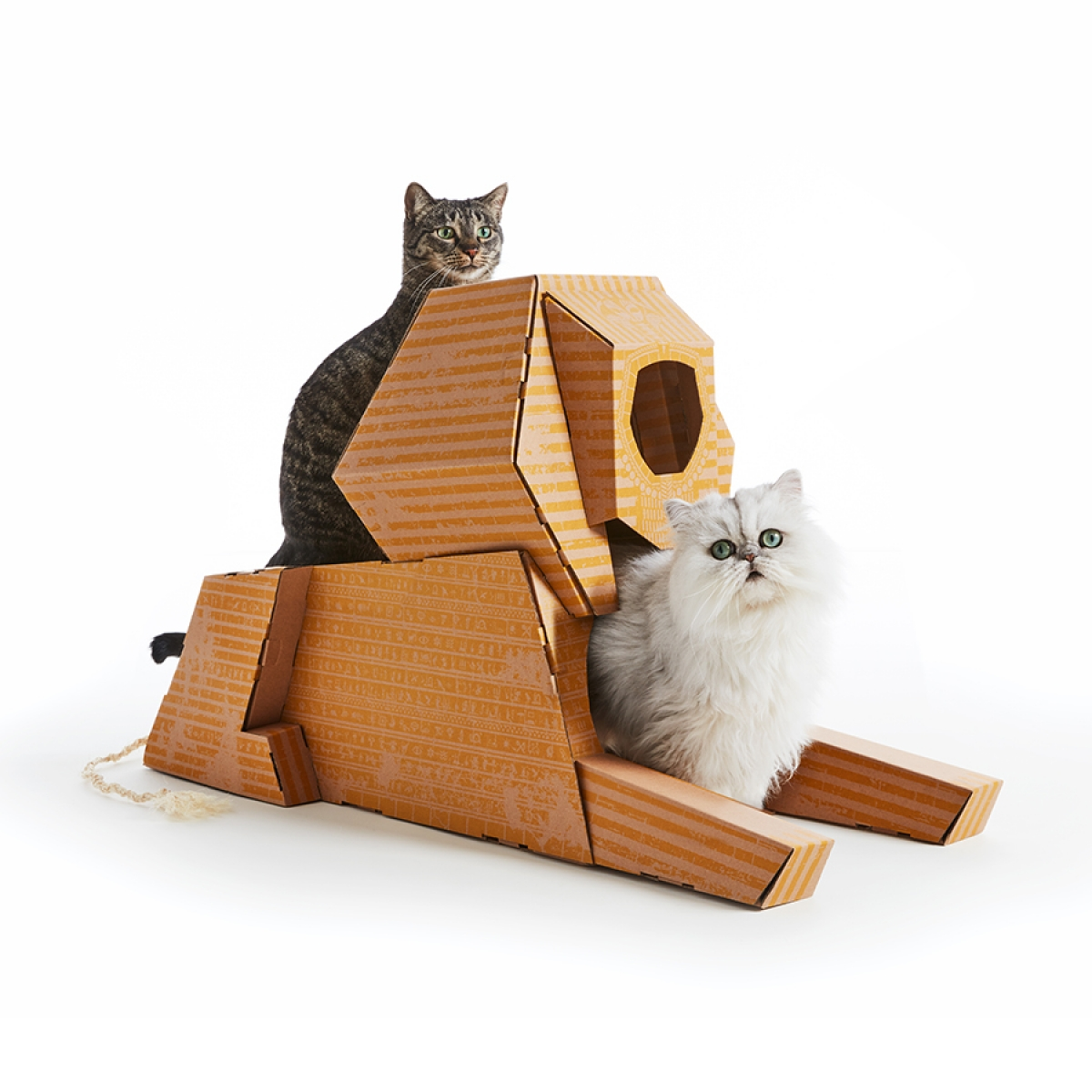 Miniature cardboard landmark architecture for cats