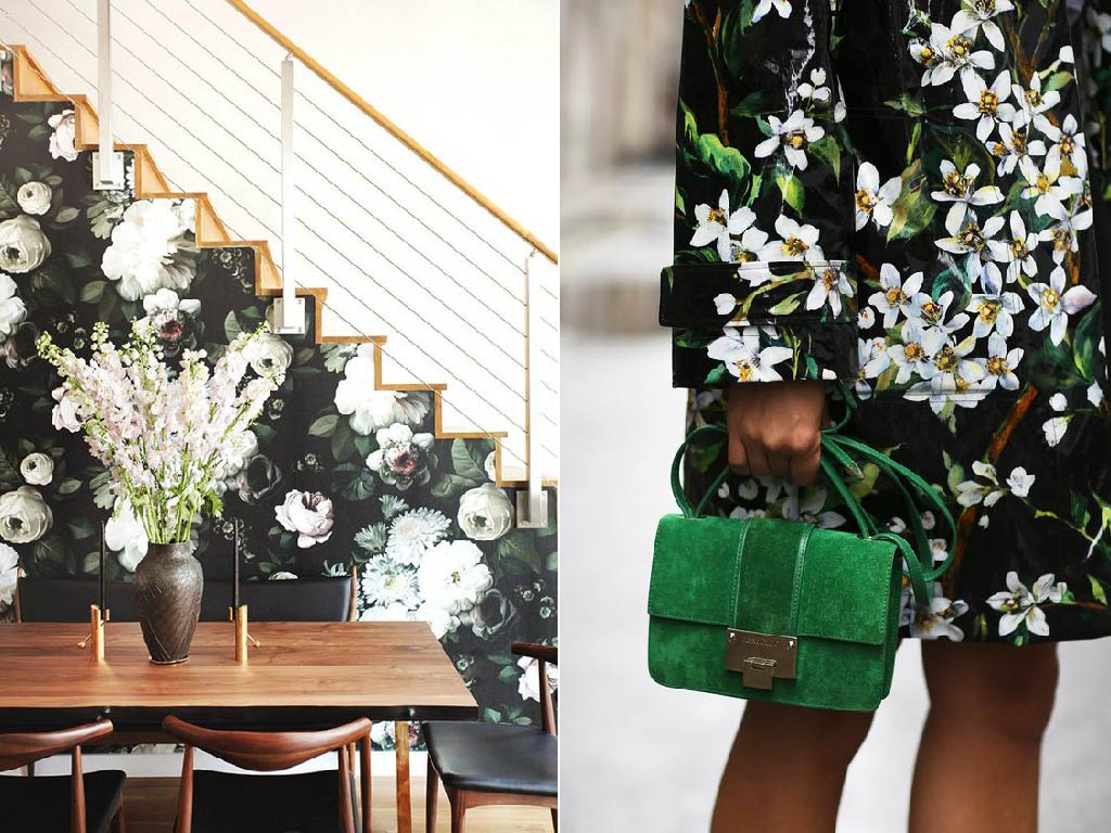Floral prints 2017 interior color trends